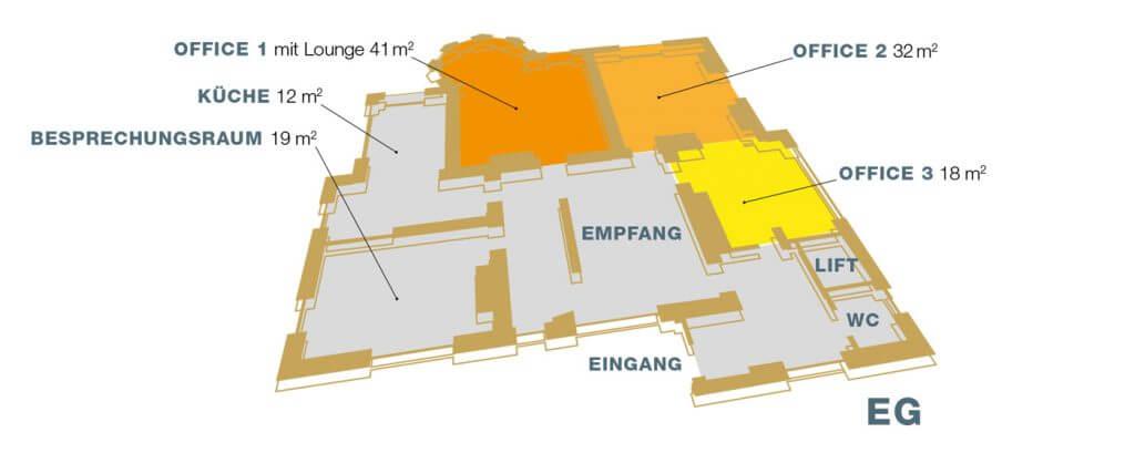 Büros mieten: BAUWERK Herzogenburg Lageplan Erdgeschoss