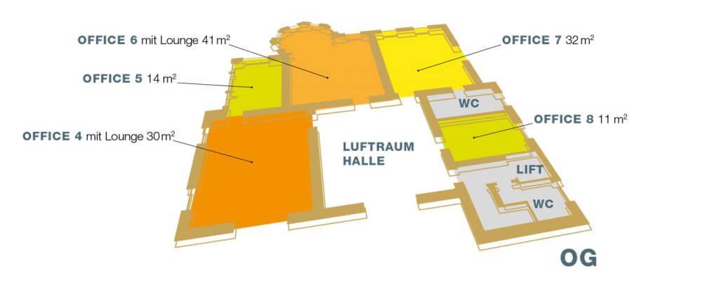Büros mieten: BAUWERK Herzogenburg Lageplan Obergeschoss